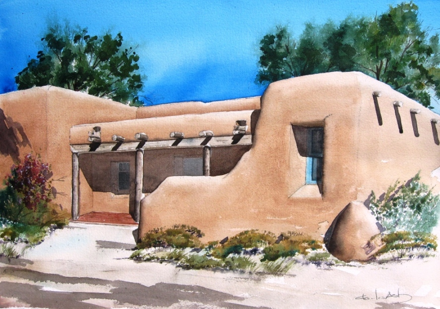 Pueblo style adobe watercolor by charles ash - Pueblo adobe houses property ...